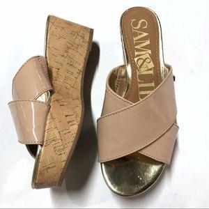 Sam & Libby Blush Patent Cork Wedge Sandal Sz 6.5